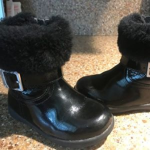 Toddler black leather UGG BOOTS